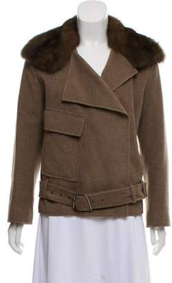 Akris Short Belted Jacket With Fur Collar