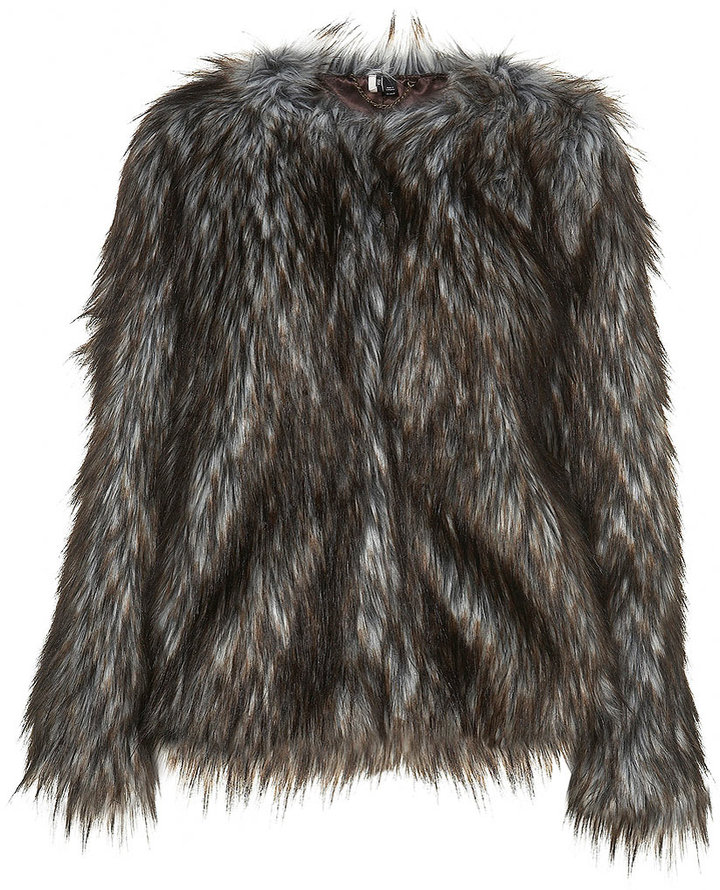Collarless Faux Fur Coat