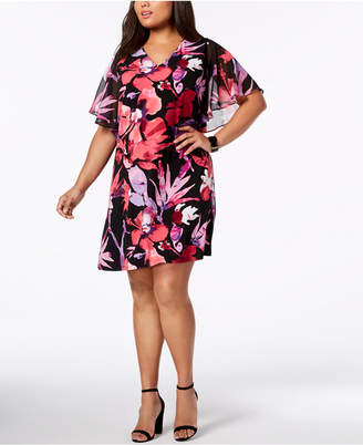 Connected Plus Size Floral Flutter-Sleeve Dress