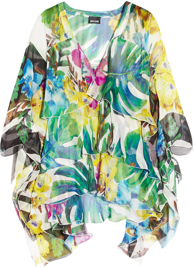 Just Cavalli Tropical-print silk-chiffon top