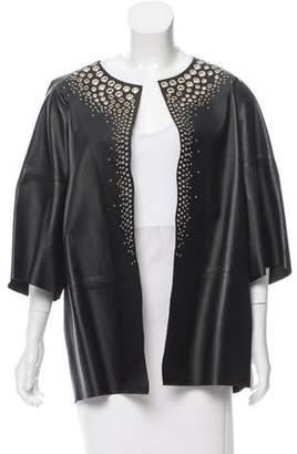 Yves Salomon Grommet-Trimmed Leather Jacket