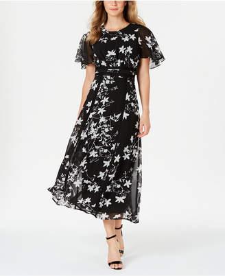Calvin Klein Floral Printed Flutter-Sleeve Maxi Dress
