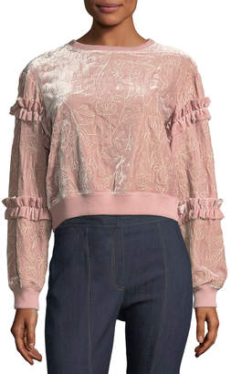Cinq à Sept Nara Embroidered Velvet Pullover Sweatshirt w/ Ruffled Trim