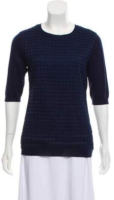 Lela Rose Silk-Wool Patterned Top