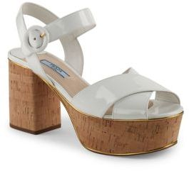 Prada Patent Leather & Cork Platform Sandals $730 thestylecure.com