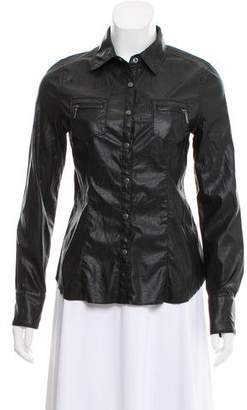 Blank NYC Faux Leather Long Sleeve Top