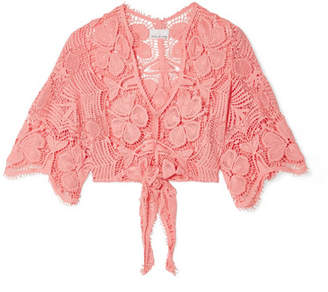 Miguelina Alma Tie-front Crocheted Cotton-lace Top - Coral