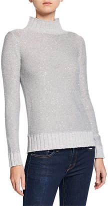 Neiman Marcus Sequin Cashmere Ribbed Turtleneck Sweater
