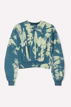 Off-White Cropped Tie-dyed Cotton-jersey Sweatshirt - Green