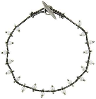 Ten Thousand Things Double Studded Pearl Chain Bracelet - Sterling Silver