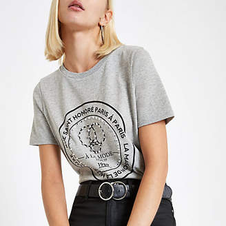 River Island Grey 'Rue Saint' jewel embellished T-shirt