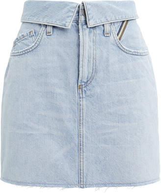 Atelier Jean Fold-Over Sky Denim Skirt