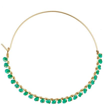 Wendy Mink Large Green Onyx Hoop Earrings
