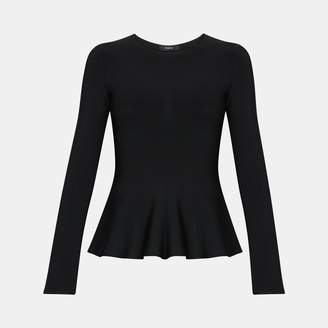 Theory Classic Long-Sleeve Peplum Top