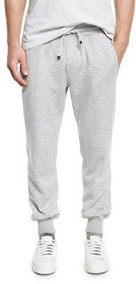 Brunello Cucinelli Cashmere-Blend Banded Jogger Pants, Light Gray $1,995 thestylecure.com