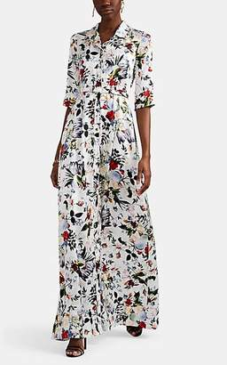 Erdem Women's Karissa Floral Silk Button-Front Gown - White Multi