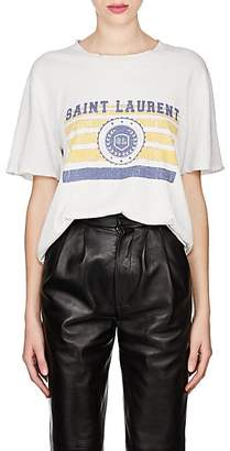 Saint Laurent Women's Collegiate-Print Cotton Oversized T-Shirt - White
