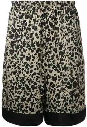 Laneus satin leopard-print shorts