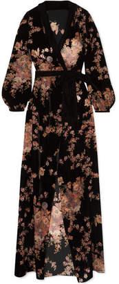 Myla Kensington Gardens Floral-print Devoré-velvet Robe - Black