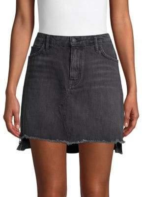 High-Low Denim Mini Skirt