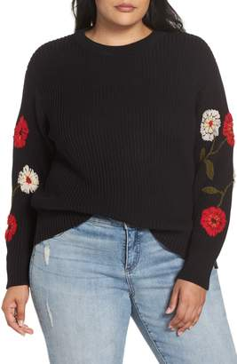 Lucky Brand Embroidered Sleeve Cotton Sweater
