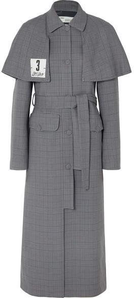 Galles Appliquéd Checked Woven Trench Coat - Gray