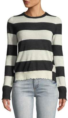 Zadig & Voltaire Source Striped Cashmere Frayed Sweater