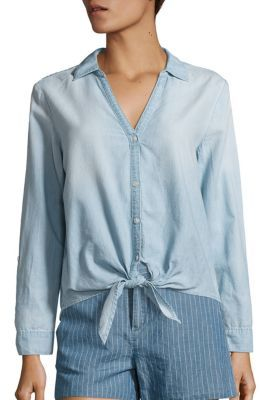 Joie Soft Joie Crysta Chambray Tie-Front Blouse $178 thestylecure.com