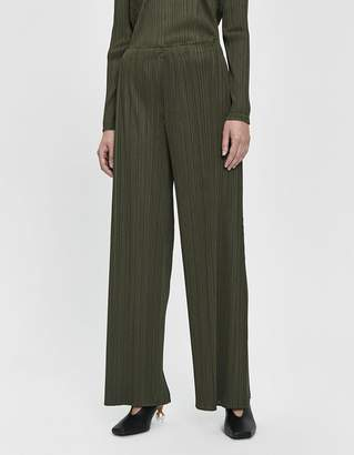 Pleats Please Issey Miyake Wide Leg Pant in Dark Olive