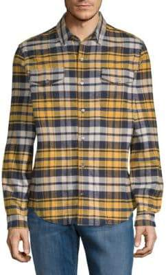 Plaid Flannel Cotton Button-Down Shirt
