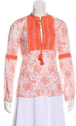 Tory Burch Lace-Trimmed Floral Print Top