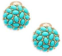 Kenneth Jay Lane Turquoise Clip-On Button Earrings