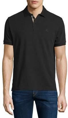 Burberry Short-Sleeve Oxford Polo Shirt, Black