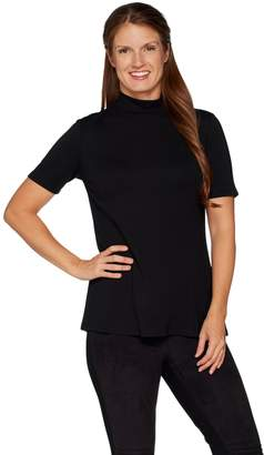 Halston H By H by VIP Ponte Short Sleeve Turtleneck Top