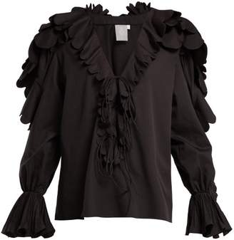 Horror Vacui Celestine Scalloped Cotton Blouse - Womens - Black