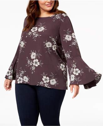 Soprano Trendy Plus Size Bell-Sleeve Blouse