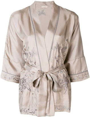 Gold Hawk embroidered kimono blouse