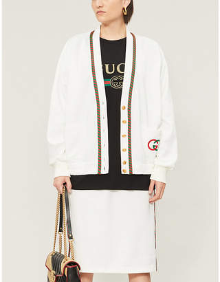 Gucci V-neck loose-fit woven cardigan