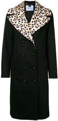 Blumarine leopard print collar double breasted coat