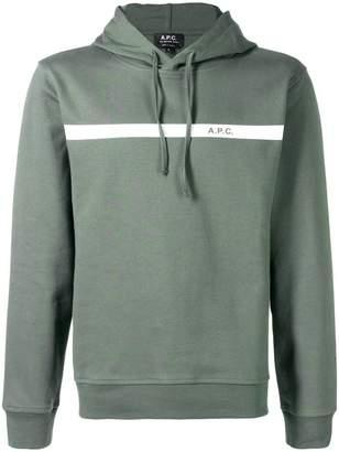 A.P.C. stripe logo hoodie