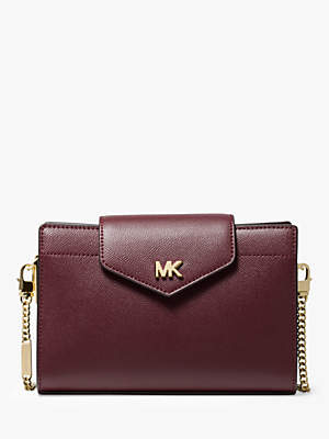 At John Lewis And Partners Michael Kors Crossbos Medium Leather Clutch Bag Oxblood