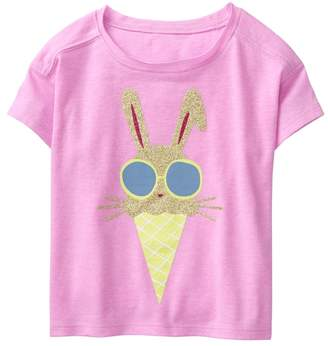 Crazy 8 Sparkle Bunny Ice Cream Crop Tee