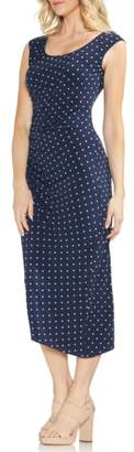 Vince Camuto Romantic Dots Side Ruched Midi Dress