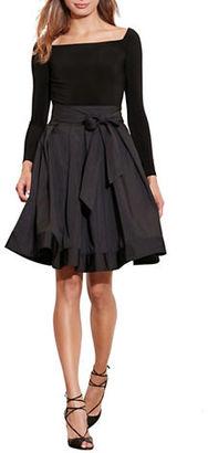 Lauren Ralph Lauren Jersey Taffeta Long Sleeve Dress $210 thestylecure.com