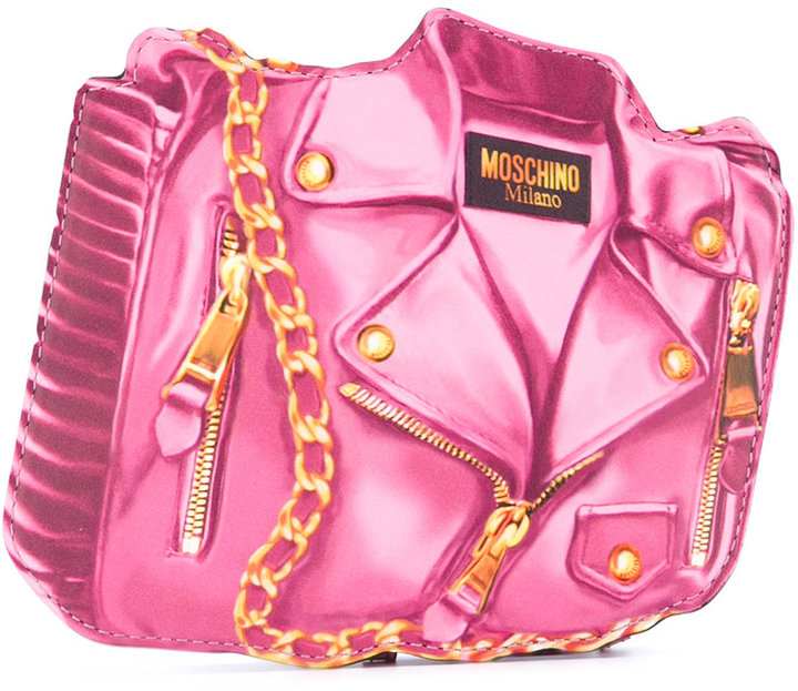 Moschino Moschino biker illusion print clutch bag