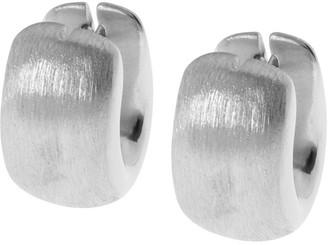 Arte D'oro Arte d'Oro Wide Oval-Shaped Huggie Hoop Earring, 18K White