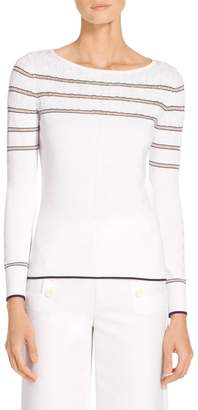 St. John Sheer Stripe Cable Sweater