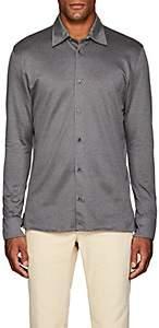 Luciano Barbera Men's Geometric-Jacquard-Knit Cotton Shirt - Light Gray