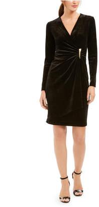 Calvin Klein Velvet Draped Wrap Dress