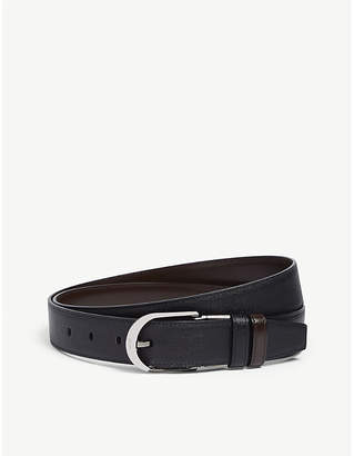 Bally Deming round buckle reversible leather belt